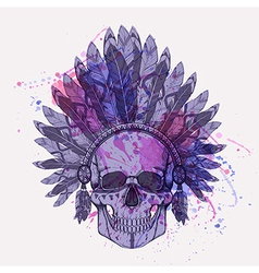 Grunge of human skull in native american ind vector
