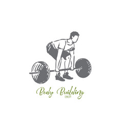 Gym barbell fitness man workout concept vector
