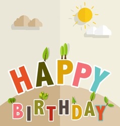 Happy Birthday Greeting Card with Happy Birthday vector image