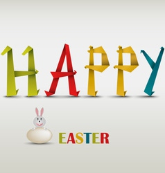 Happy Easter card with folded colored paper vector image
