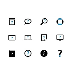 Help and faq duotone icons on white background vector