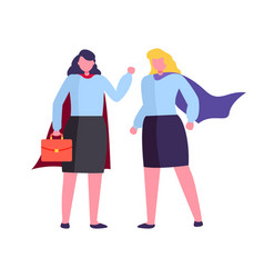 hero women wearing costumes holding briefcase vector image