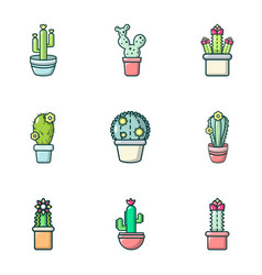 Home cactus icons set outline style vector