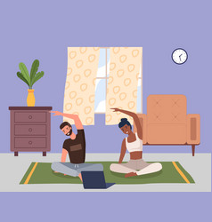 home fitness young couple doing yoga in living vector image
