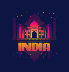 india agra taj mahal card vector image