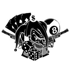 Joker card with gun and ace vector