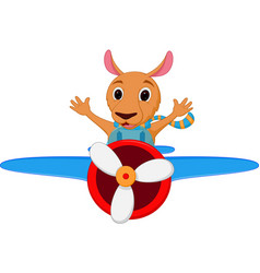 Kangaroo cartoon riding a plane vector