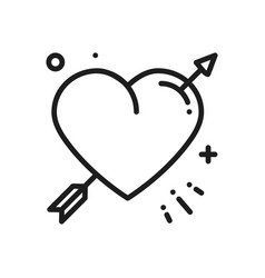 Love line arrow heart icon happy valentine day vector