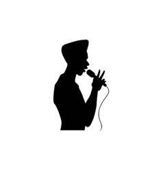 man singing silhouette set vector image