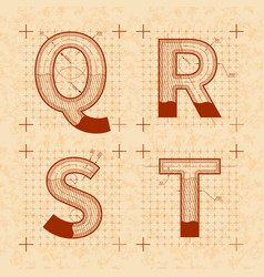 Medieval inventor sketches q r s t letters vector