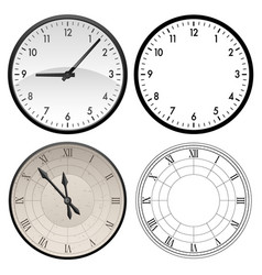 modern clock and antique clock template vector image