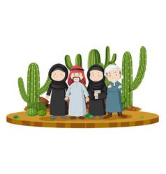 muslim people in desert land vector image