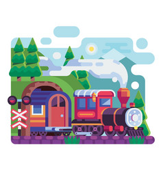Old retro locomotive with wagon on mountains vector