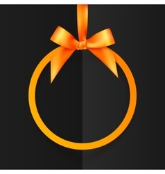 Orange round frame with silky bow and ribbon at vector