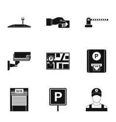 Parking station icons set simple style vector