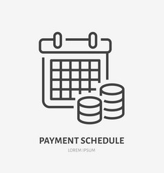 payment schedule with money flat line icon vector image
