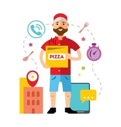 Pizza delivery flat style colorful cartoon vector