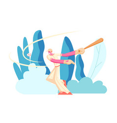 professional baseball batter hitting ball at game vector image