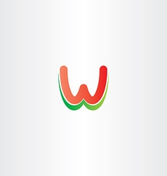 Red green letter w logo design stylized icon vector