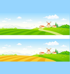 Rural fields banners vector