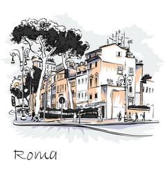 Scenic city view rome italy vector