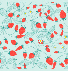 seamless pattern ripe strawberries vector image