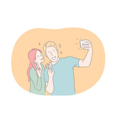 selfie making photo on smartphone blogging vector image