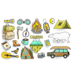 set of cute camping elements stickers doodle vector image