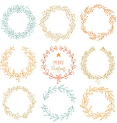 Set of winter wreaths vector image