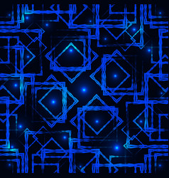 shimmering blue rhombuses and squares with vector image