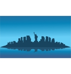 Silhouette of liberty on the island vector