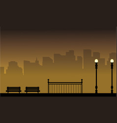 Silhouette of street lamp landscape with chair vector