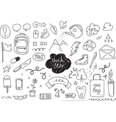 Sketch set Hand drawn elements vector image