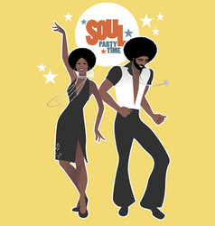 Soul party time young couple dancing funk vector