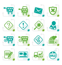 Stylized online shop icons vector