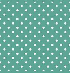 tile pattern with white polka dots on mint green vector image