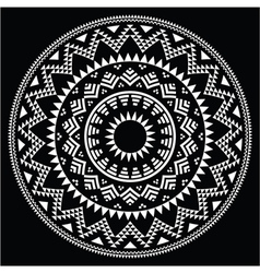 Tribal folk round Aztec geometric pattern on black vector image