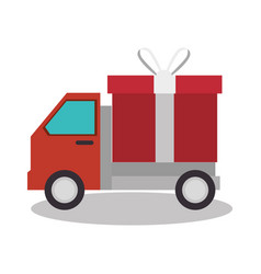 Truck delivery service isolated icon vector
