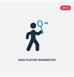 Two color man playing badminton icon from sports vector