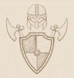 Viking warrior set - shield swords and helmet vector