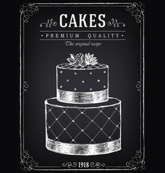 vintage bakery poster with big cake freehand vector image