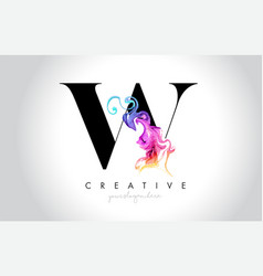 W vibrant creative leter logo design vector