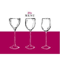 wine menu design template - card with glasses vector image