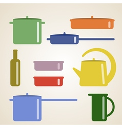 With kitchen shelves and cooking utensils vector