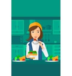 Woman eating salad vector image
