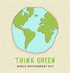 World environment card green earth globe vector