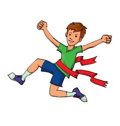 boy winning a race vector image