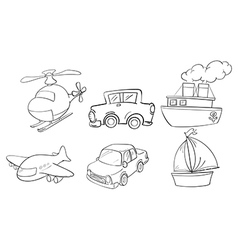 Doodle design of land air and water vector image