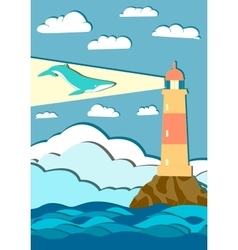 giant whale with mountains and lighthouse vector image