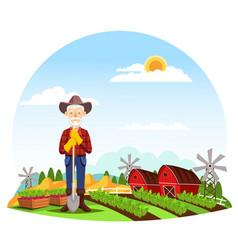 man or grandfather farmer at farm vector image